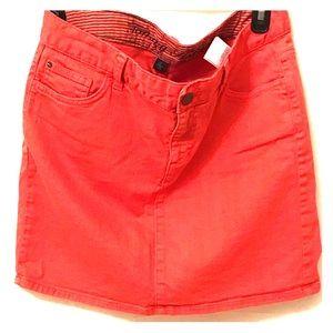 Tommy Hilfiger Pink/Coral Denim Mini Skirt Size 6
